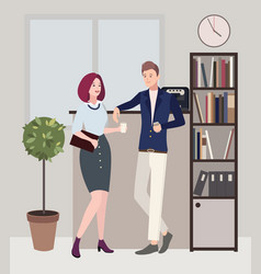 relationships at work coffee break woman and man vector image vector image