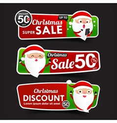 028 Collection of Christmas Sale red and green web vector image