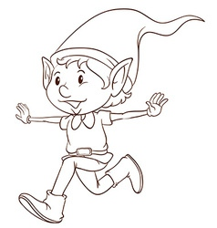 A plain drawing of an elf vector image