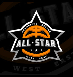 all star basketball sports logo emblem on a dark vector image