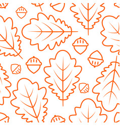 autumn seamless pattern with oak leaves and acorns vector image