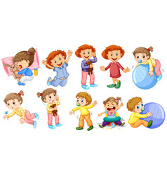 baby girls and boys doing different activities vector image