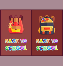 Back to school posters with backpacks or rucksacks vector
