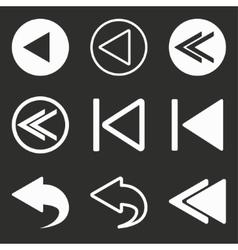 Backward icon set vector
