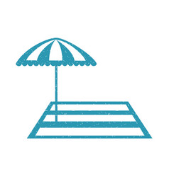 Beach umbrella with rug vector
