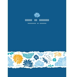 Blue and yellow flower silhouettes torn vertical vector image