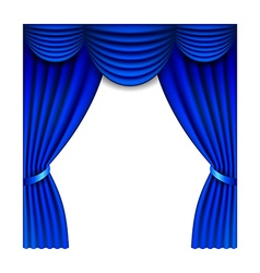 Blue window curtains isolated on white vector