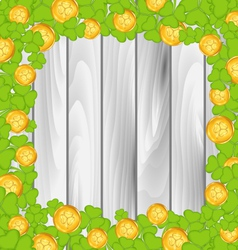 Border with shamrocks and golden coins for St vector image