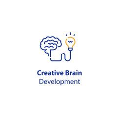 Brain and light-bulb creativity development vector