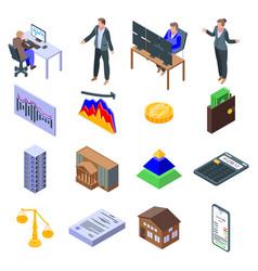 Broker icons set isometric style vector