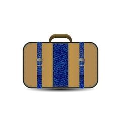 brown travel bag with big blue denim inset vector image