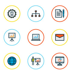 business icons colored line set with network bar vector image