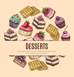 Cake desserts poster for pastry shop design vector