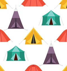 camping tent seamless pattern tourist hiking tents vector image