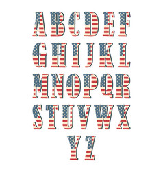 capital 3d letter alphabet with american flag vector image