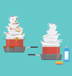cartoon clean and dirty dishes set vector image
