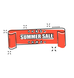 cartoon summer sale ribbon icon in comic style vector image