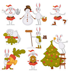 Christmas bunny rabbit santa cartoon character vector