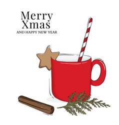christmas cup hot chocolate or coffee drink vector image