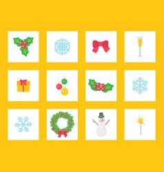 christmas wreath circle shape mistletoe set vector image