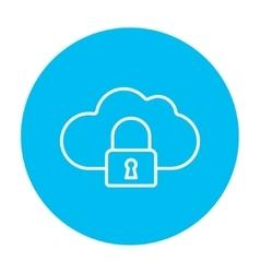 Cloud computing security line icon vector