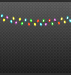 colorful christmas lights string isolated on black vector image