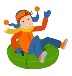 Cute child on snow tubing vector