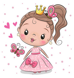 Cute princess on a white background vector