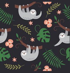 Cute sloths hanging on tree seamless pattern vector