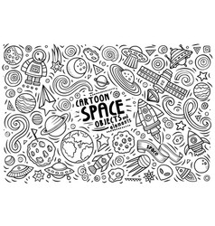 Doodle cartoon set of space theme objects and vector