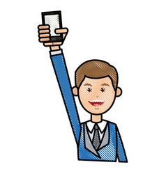 Drawing man with blue suit holding smartphone vector