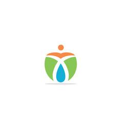 eco happy man green leaf bio logo vector image