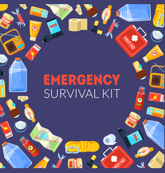 Emergency survival kit banner template with travel vector