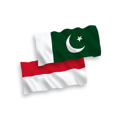 Flags indonesia and pakistan on a white vector