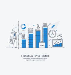 Flat line-art financial investment vector