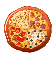 four type pizza icon cartoon style vector image