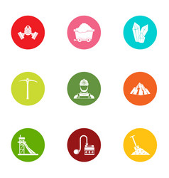 Goldmine icons set flat style vector