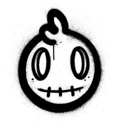 Graffiti cute monster icon sprayed in black over vector
