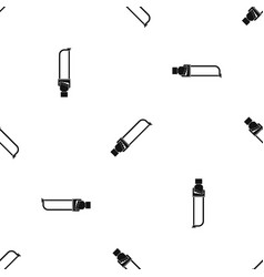 hand holding spatula tool pattern seamless black vector image
