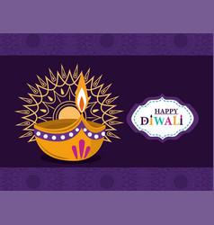 happy diwali festival gold mandala floral light vector image