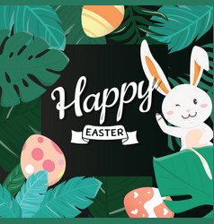 Happy easter bunny in the forest vector