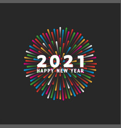 hny 2021 logo and happy new year white text on vector image