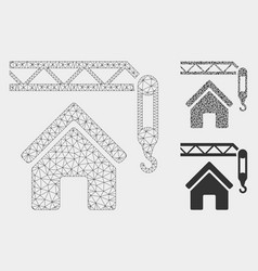 home construction mesh wire frame model and vector image