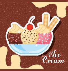 ice scream kawaii vector image