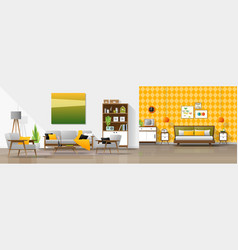 interior background with living room and bedroom vector image