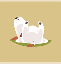 Jack russell puppy character sleeping on his back vector