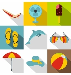 Journey to sea icons set flat style vector