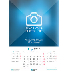july 2018 wall monthly calendar for 2018 year vector image