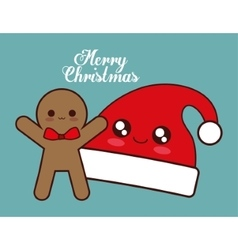 Kawaii hat and coockie of christmas season vector