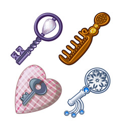 Keys combs and pads for needles vector